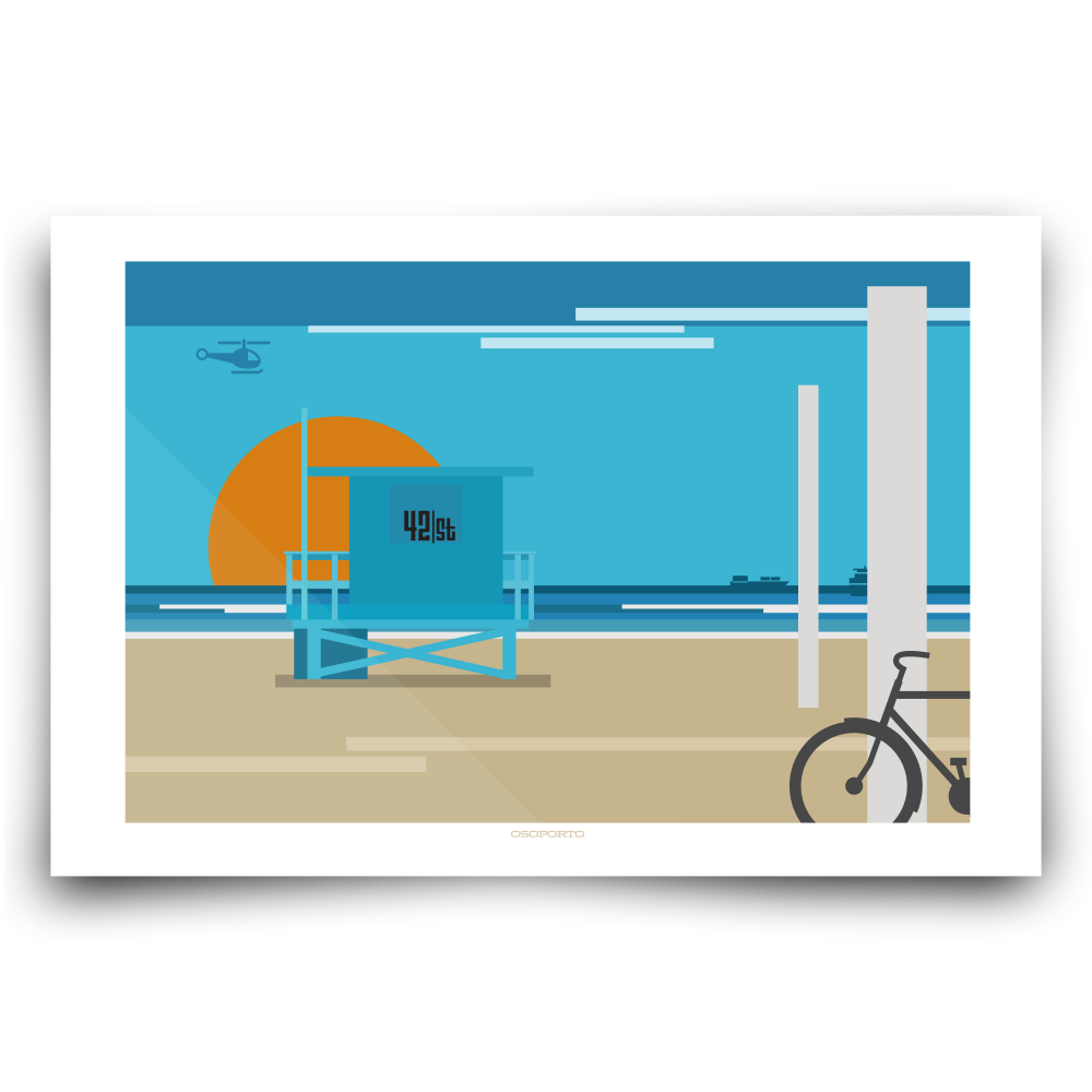El Porto Manhattan Beach California minimal modern art print