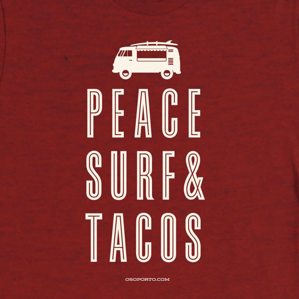 Peace Surf & Tacos t-shirt design vw bus surf van