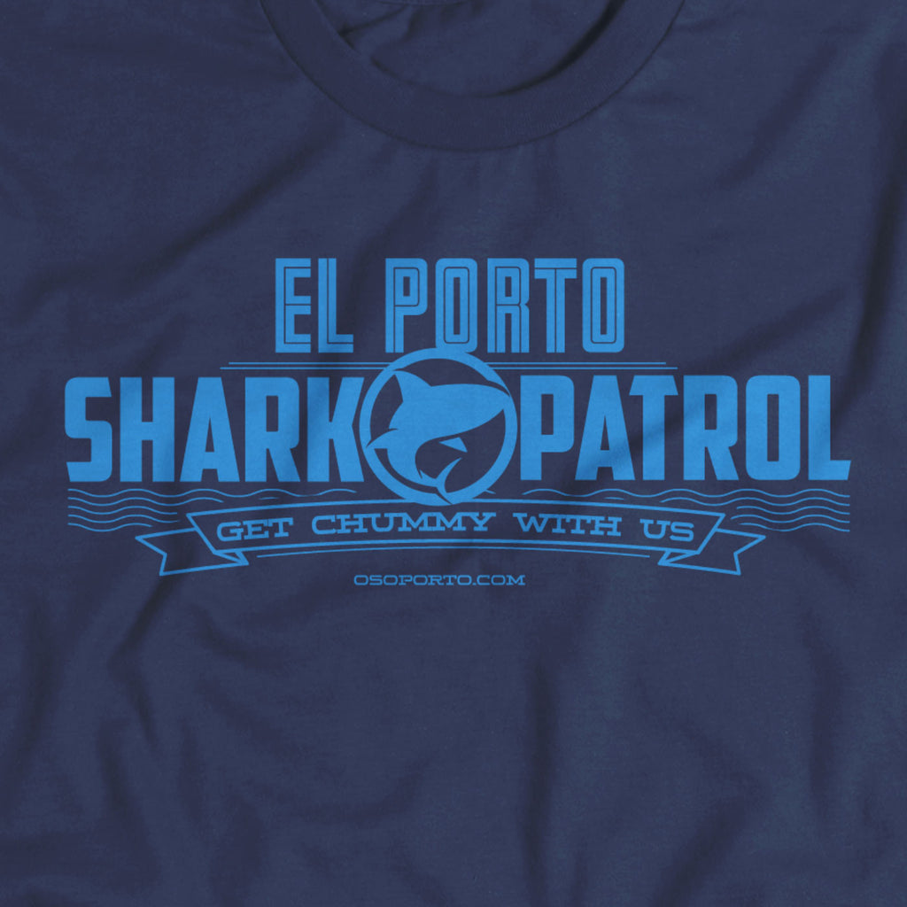 Perfect for Shark Week. El Porto Shark Patrol t-shirt