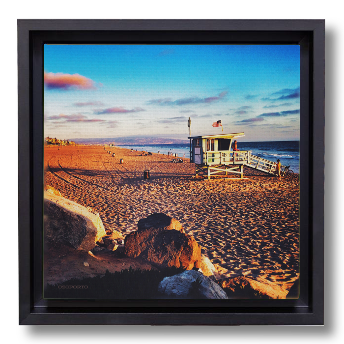 Beach decor photography canvas framed print: California lifeguard tower