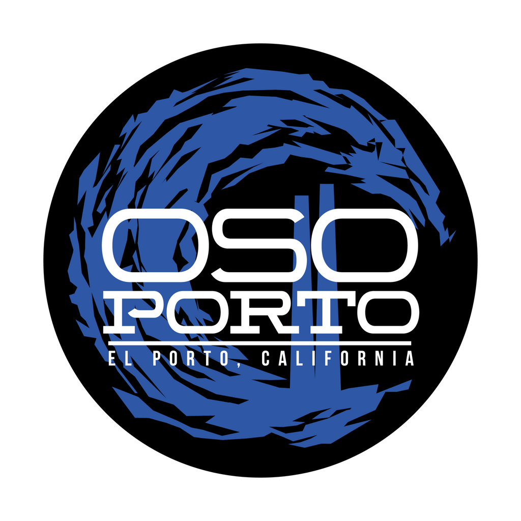 OsoPorto logo circle waves El Porto, California sticker design