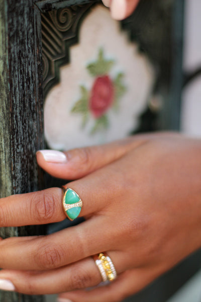 Chrysoprase Double Pyramid Ring