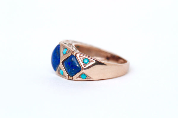 Geometric Lapis Ring