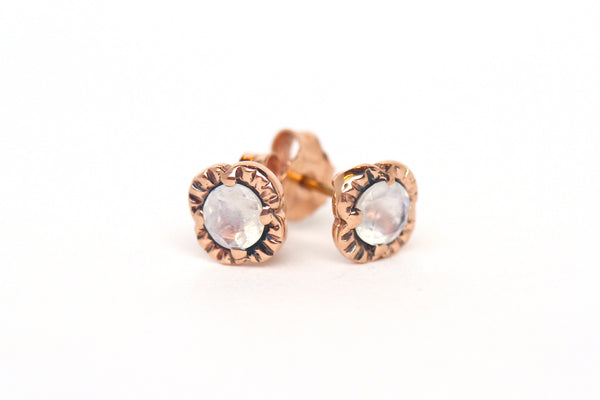 Moonstone Scallop Studs