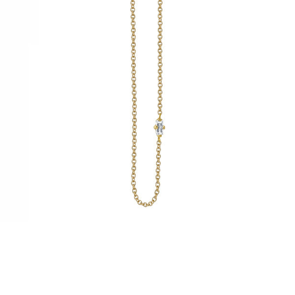 White Diamond Baguette Floating Necklace