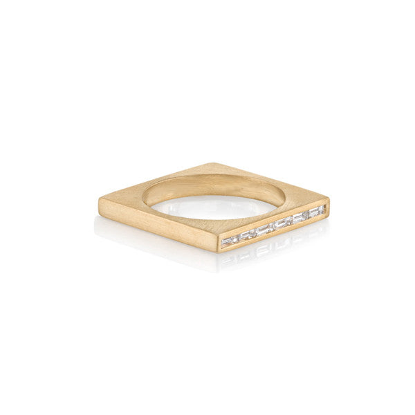 One Sided Baguette Square Ring