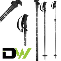 MRDW Collection - Zipline Blurr EXT - Adjustable Graphite Composite Ski Pole Ski Poles ZiplineSki Carbon Weave