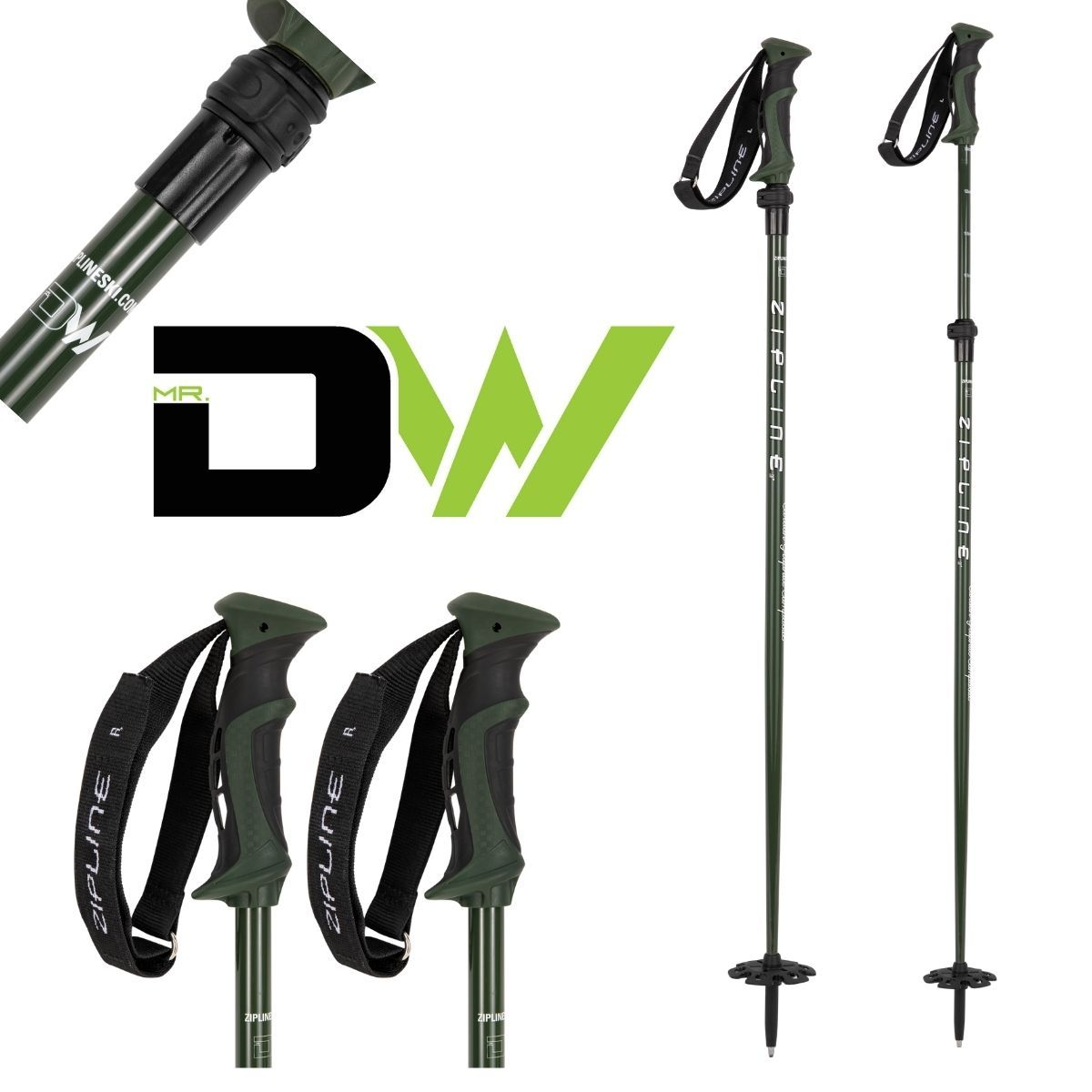 MRDW Collection - Zipline Blurr EXT - Adjustable Graphite Composite Ski Pole Ski Poles ZiplineSki Military Green