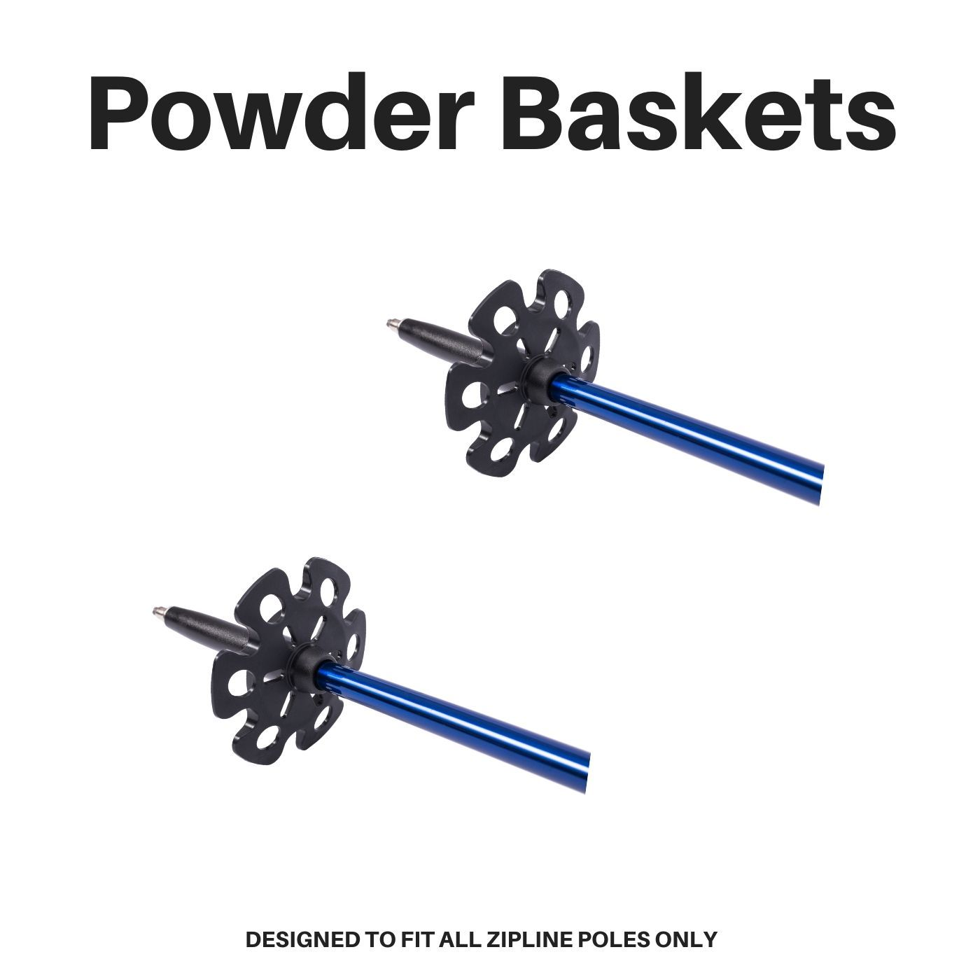 Replacement Powder Baskets - Pair Ski Poles ZiplineSki Black