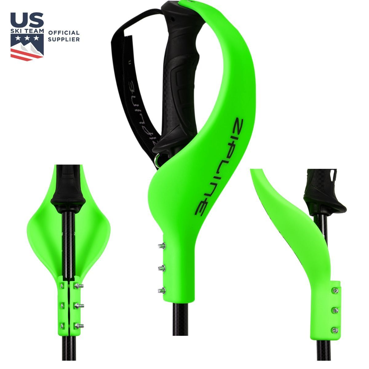 Ski Pole Hand Guard ZiplineSki Monster Green