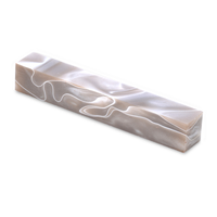 Acrylic acetate Pen Blank- white swirl in taupe.