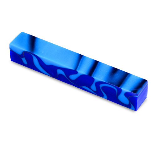 Acrylic Acetate Pen Blank-bright blue with aqua and black swirls