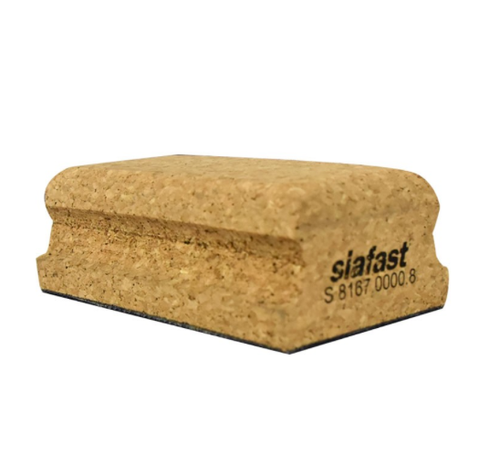 "Hard cork Siafast Sanding Block with velcro - 2.75"" x 5"""