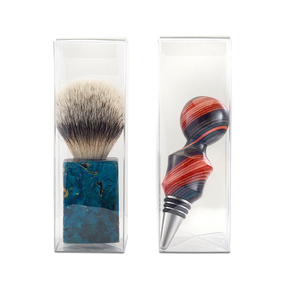 "2""x6""x2"" Clear plastic box with snap lock bottom 10 pack - fits finished shaving brush and bottlestoppers"