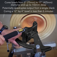 "Bowlsaver MAX3 include 1"" (25mm) x 6"" (150mm) - Toolpost MT2 tail stock."