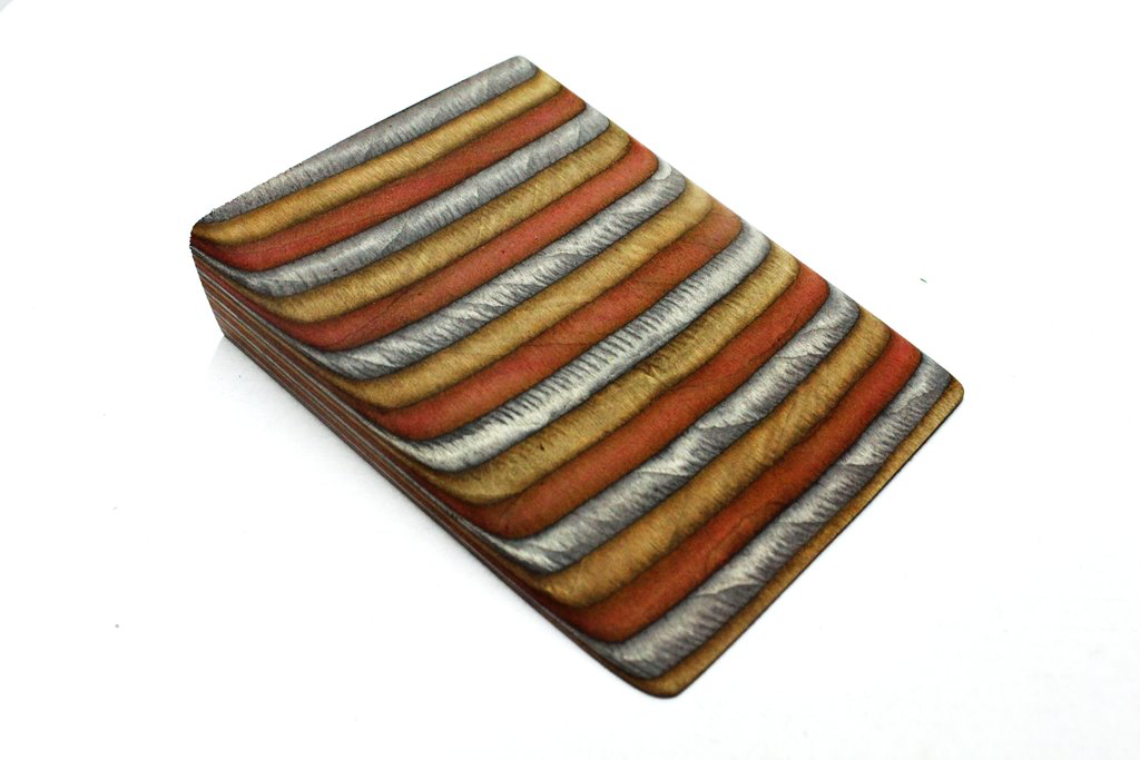 "3""  X 3"" X 12"" Coloured wood -Charcoal, Brown, Burgundy"