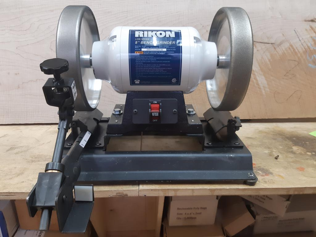 Kodiak Sharpening System with 1/2 HP Rikon Low Speed Grinder and a 220 & 350 Grit Radius CNB Wheels