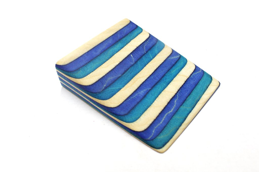 "3"" X 3"" X 12"" Coloured wood -Natural, Blue, Turquoise"