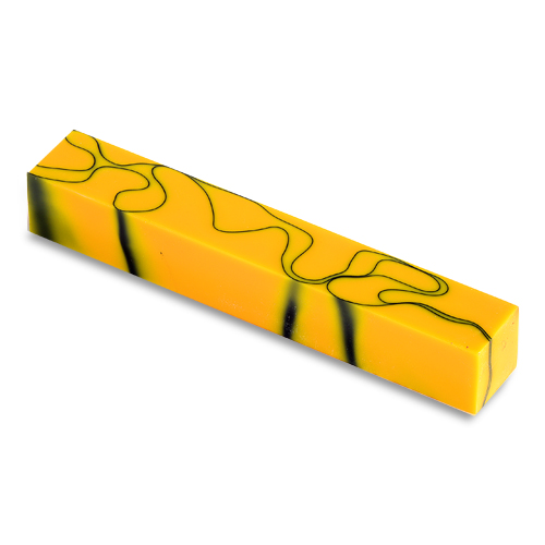 Acrylic Acetate Pen Blank-Yellow with thin black line