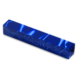 Acrylic Acetate Pen Blank-Rich vibrant blue with fine light blue wavy line