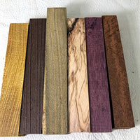 "PEN BLANK SET-7/8x7/8x5.5"" Osage Orange, Wenge, Verawood, Olive Wood, Purple Heart, Lace Sheoak"