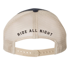Ride All Night Tour Blue Trucker Hat