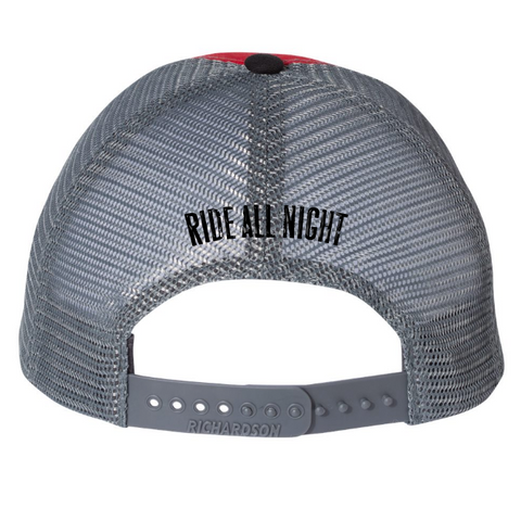 Ride All Night Tour Red Trucker Hat