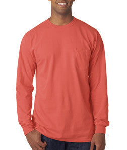 936b5423f86a5a 4410 Chouinard Long Sleeve Heavyweight Cotton Pocket Tee Bright Salmon  Pgmdye