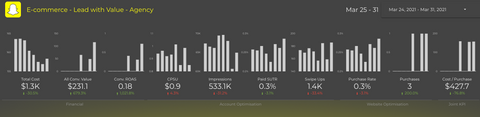 Snapchat Ads Analyser Desktop Dashboard for Lead Generation with value - topline section sample