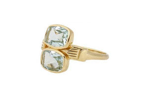 Double Stone Aquamarine Ring