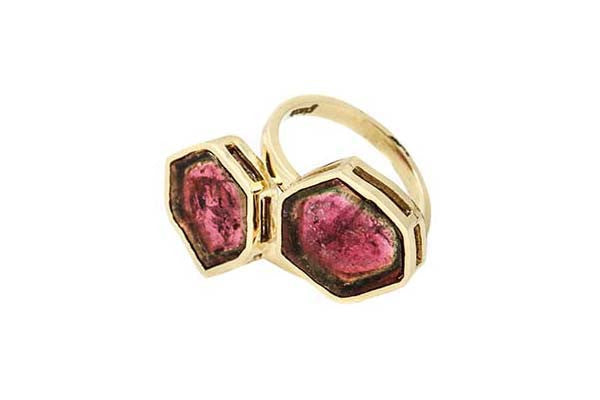 Double Stone Watermelon Tourmaline, Open Bezel Ring