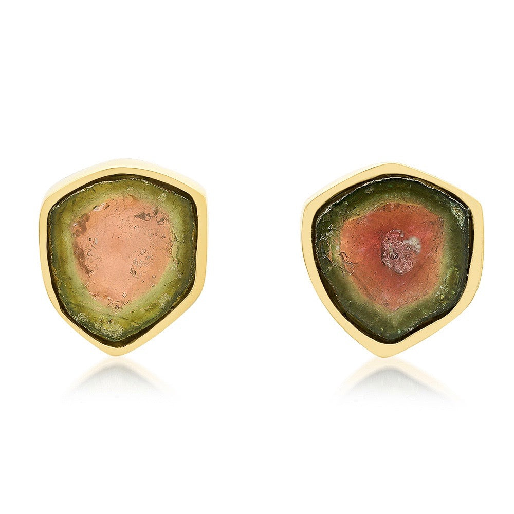 Medium Watermelon Tourmaline Studs
