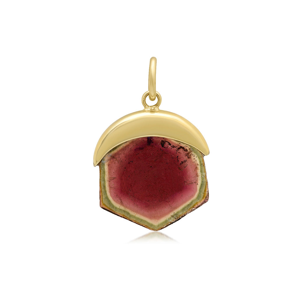 Gold Capped Watermelon Tourmaline Pendant
