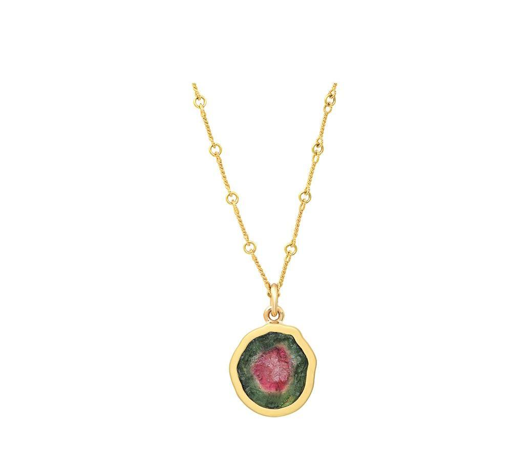 Gold Brushed Bezel Watermelon Tourmaline Pendant