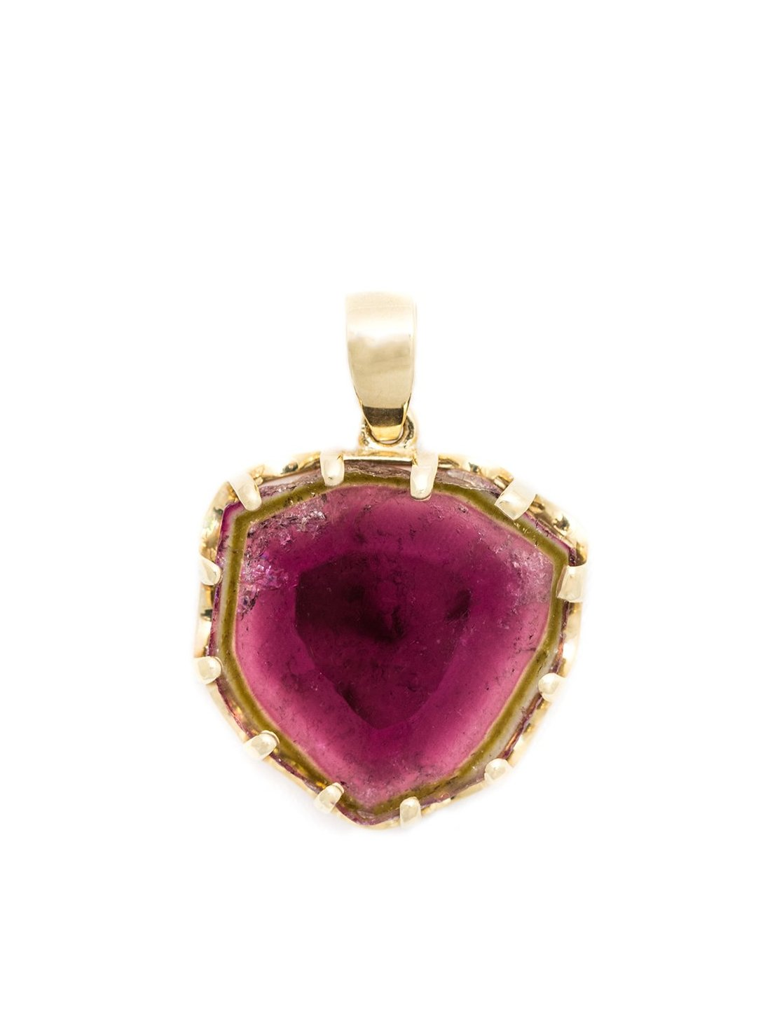 Large Scalloped Tourmaline Pendant