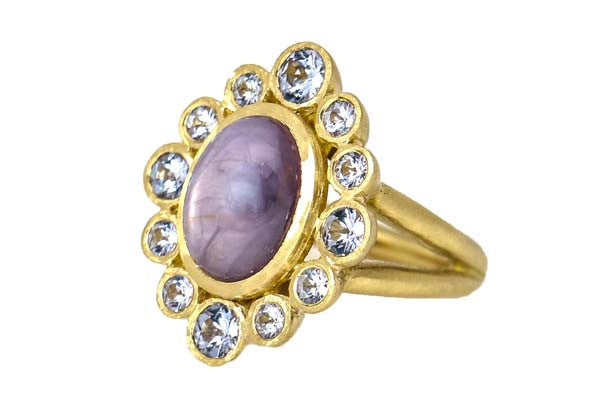 Sapphire Cabochon Cocktail Ring with Lavender Spinel