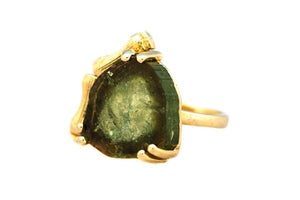 Bamboo Edge Watermelon Tourmaline Pinky Ring Gienia
