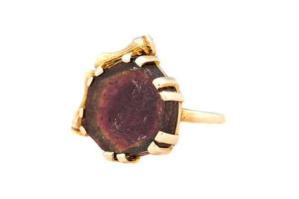 Bamboo Edge Watermelon Tourmaline Pinky Ring