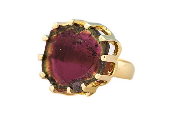 Scalloped Watermelon Tourmaline Ring