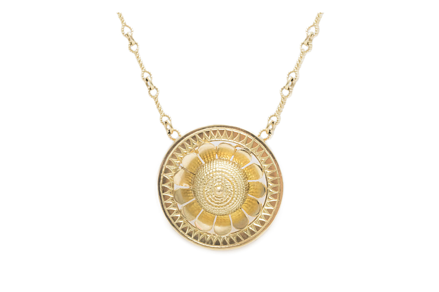 Etruscan Revival Inspired Gold Wire Dome Pendant