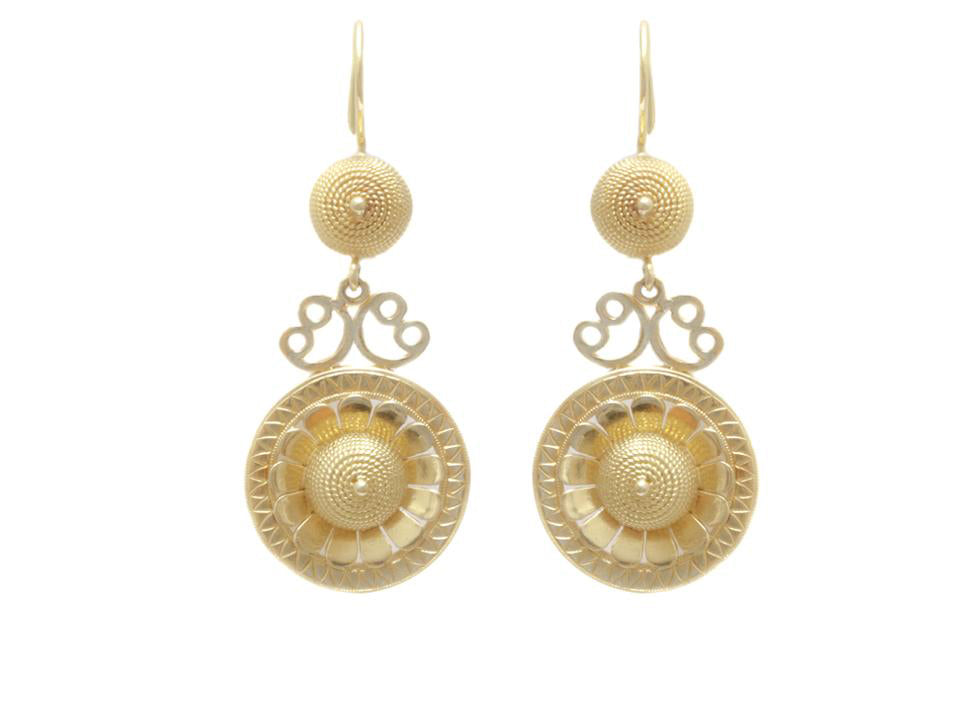 Etruscan Revival Inspired Gold Wire Dome Earrings