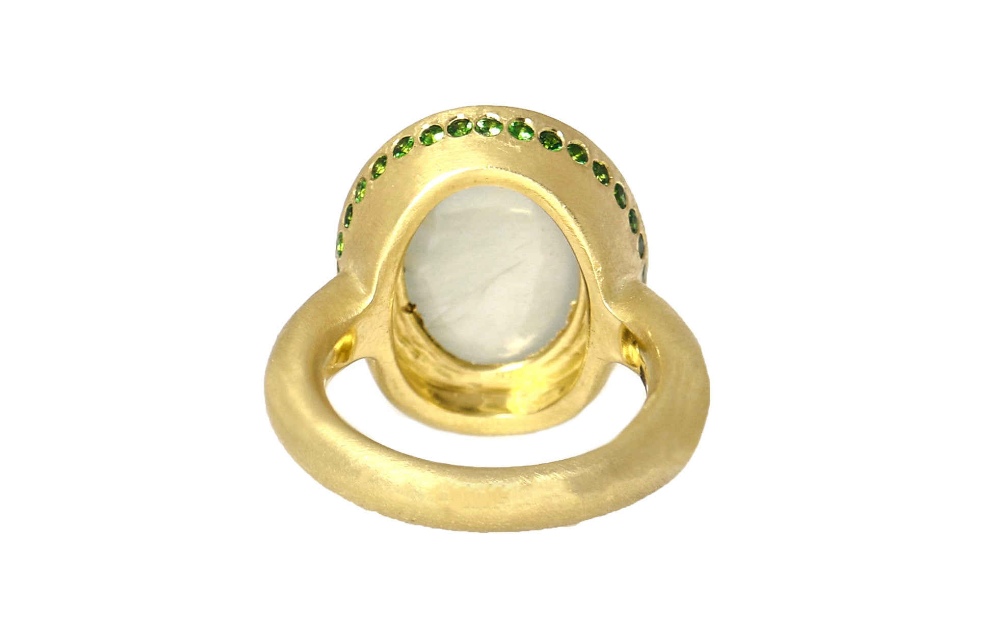 White Jadeite Cabochon Cocktail Ring with Green Garnets