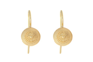 Small Etruscan Revival Inspired Gold Drop Earrings