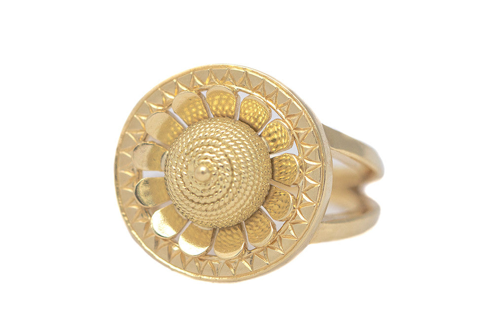 Etruscan Revival Inspired Gold Wire Dome Ring 18k Gienia gieniadesign.com