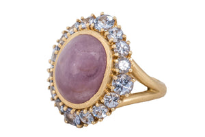 Ruby Cabochon Cocktail Ring with Lavender Spinel