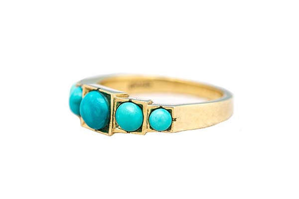 Circle & Square Turquoise Ring Gienia 18k gieniadesign.com
