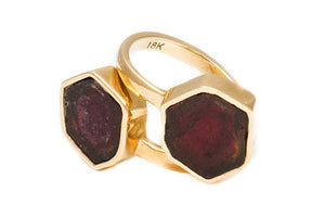 Double Stone Watermelon Tourmaline, Closed Bezel Ring