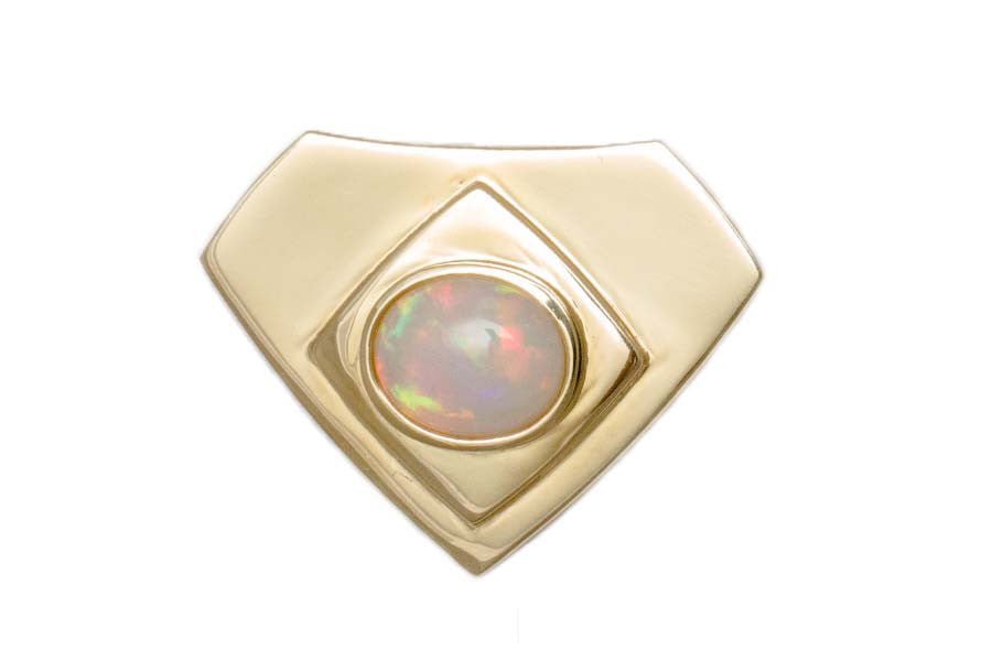 Gold Shield Opal Pendant