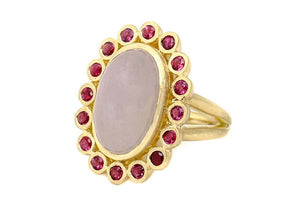 Lavender Jadeite Cabochon Cocktail Ring with Rubies