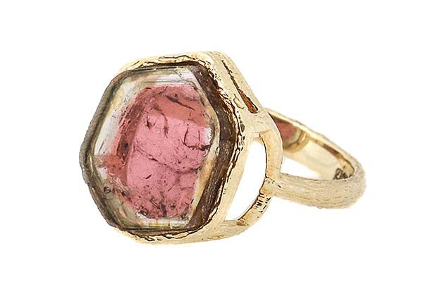 Bezel Watermelon Tourmaline Ring Gienia 18k gieniadesign.com